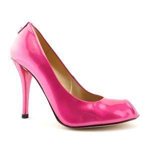 STUART WEITZMAN Pink Patent Open Toe Heel Pump 6.5
